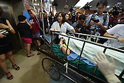 Aug. 17, 2015 - Bangkok, Thailand - <br /> <br /> Huge Explosion Rocks Bangkok Landmark<br /> <br /> An injured person is seen at the Police General Hospital. China's Foreign Ministry has initiated an emergency response after an explosion hit downtown Bangkok Monday night that has killed 19 people, including three Chinese nationals.<br /> ©Exclusivepix Media