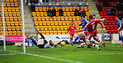 Aberdeen&rsquo;s Rooney scoring their first goal. <br /> half time : St Johnstone 0 v 2 Aberdeen, SPFL Ladbrokes Premiership played 6/2/2016 at McDiarmid Park, Perth.