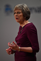 October 5, 2016 - Birmingham, United Kingdom - Image ©Licensed to i-Images Picture Agency. 05/10/2016. Birmingham, United Kingdom. Conservative Party Conference- Day Four.  The Prime Minister Theresa May delivering her keynote speech to the Conservative Party Conference at the ICC Birmingham. Picture by Andrew Parsons / i-Images (Credit Image: © Andrew Parsons/i-Images via ZUMA Wire)