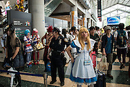 Thousands of visitors attend the Comic Market 90 (Comiket) event in Tokyo Big Sight on August 14, 2016, Tokyo, Japan. Many manga and anime fans wearing cosplay lined up in the sun for the third day of Comiket. Comiket was established in 1975 and focuses on manga, anime, gaming and cosplay. Organizers expect more than 500,000 visitors to attend this year's summer event which runs for three days until August 14. 14/08/2016-Tokyo, JAPAN