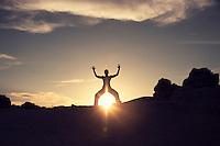Radical female silhouette in the desert.