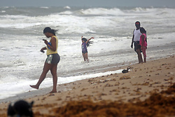 Kamila Canchola, 8, of Fort Lauderdale, FL, USA., plays in the shallow surf on Fort Lauderdale Beach as Hurricane Irma pushes into South Florida on Saturday, September 9, 2017. Photo by Amy Beth Bennett/Sun Sentinel/TNS/ABACAPRESS.COM