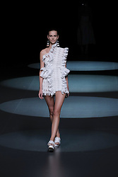 September 16, 2016 - Madrid, Spain - A model showcases designs by Juan Vidal on the runway at the Juan Vidal show during Mercedes-Benz Fashion Week Madrid Spring/Summer 2017 at Ifema on September 16, 2016 in Madrid, Spain. (Credit Image: © Oscar Gonzalez/NurPhoto via ZUMA Press)