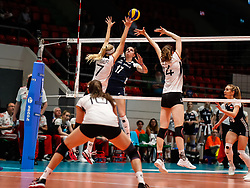 16.05.2019, Montreux, SUI, Montreux Volley Masters 2019, Deutschland vs Polen, im Bild Nele Barber (Germany #7) and Marie Schoelzel (Germany #14) against Malwina Smarzek (Poland #17) // during the Montreux Volley Masters match between Germany and Poland in Montreux, Switzerland on 2019/05/16. EXPA Pictures © 2019, PhotoCredit: EXPA/ Eibner-Pressefoto/ beautiful sports/Schiller<br /> <br /> *****ATTENTION - OUT of GER*****