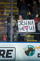 KELOWNA, CANADA - FEBRUARY 20: A fan holds a sign for the singer of the national anthem at the Kelowna Rockets against the Prince George Cougars  on February 20, 2018 at Prospera Place in Kelowna, British Columbia, Canada.  (Photo by Marissa Baecker/Shoot the Breeze)  *** Local Caption ***
