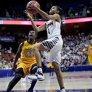 Moriah Jefferson, UConn, drives to the basket defended by  Gabrielle Holston, East Carolina, during the UConn Huskies Vs East Carolina Pirates Quarter Final match at the  2016 American Athletic Conference Championships. Mohegan Sun Arena, Uncasville, Connecticut, USA. 5th March 2016. Photo Tim Clayton