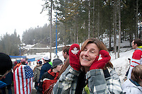 Deborah shows off her red olympic mittens during the 2010 Olympic winter games in Whistler, BC Canada.