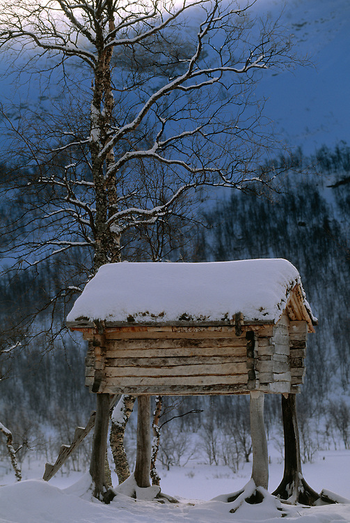 Saami buildings, Ammarnäs, Vindelfjällen Nature Reserve, Sweden