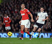 Rio Ferdinand in action  during the Barclays Premier League match between Manchester United and Tottenham Hotspur at Old Trafford on October 30, 2010 in Manchester, England.
