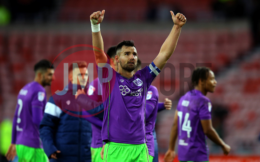 Bailey Wright of Bristol City celebrates the win over Sunderland - Mandatory by-line: Robbie Stephenson/JMP - 28/10/2017 - FOOTBALL - Stadium of Light - Sunderland, England - Sunderland v Bristol City - Sky Bet Championship