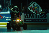 KELOWNA, CANADA - FEBRUARY 15:  Rocky Racoon, the mascot of the Kelowna Rockets enters the ice against the Everett Silvertips on February 15, 2019 at Prospera Place in Kelowna, British Columbia, Canada.  (Photo by Marissa Baecker/Shoot the Breeze)