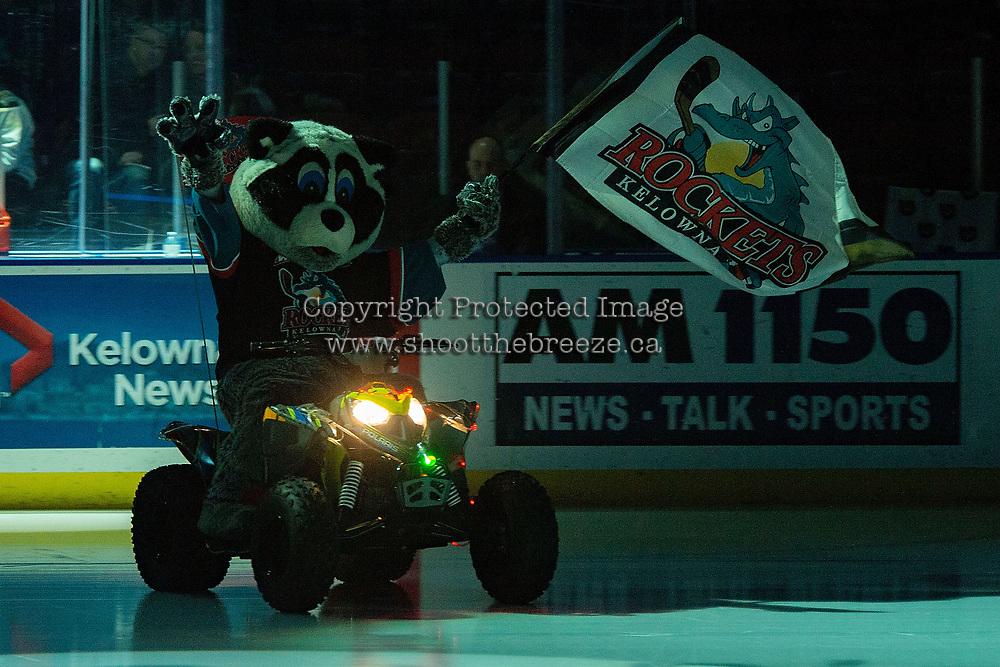 KELOWNA, CANADA - FEBRUARY 15:  Rocky Racoon, the mascot of the Kelowna Rockets enters the ice against the Everett Silvertips on February 15, 2019 at Prospera Place in Kelowna, British Columbia, Canada.  (Photo by Marissa Baecker/Shoot the Breeze)