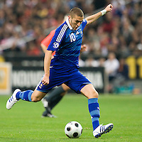 14 October 2008: French forward Karim Benzema #10 kicks the ball during the friendly football match won 3-1 by France over Tunisia on October 14, 2008, at the Stade de France in Saint-Denis, near Paris, France.