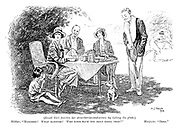 """(small girl finishing her strawberries-and-cream by licking his plate.) Mother. """"Marjorie!  What manners! Who ever have you seen doing that?"""" Marjorie. """"Dogs."""""""