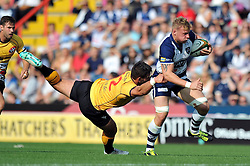Mitch Eadie of Bristol Rugby gets past Rheon James of Cornish Pirates - Photo mandatory by-line: Patrick Khachfe/JMP - Mobile: 07966 386802 21/09/2014 - SPORT - RUGBY UNION - Bristol - Ashton Gate - Bristol Rugby v Cornish Pirates - GK IPA Championship.