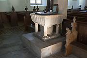 All Saints church, Noram stone baptismal font, South Elmham, Suffolk, England, UK