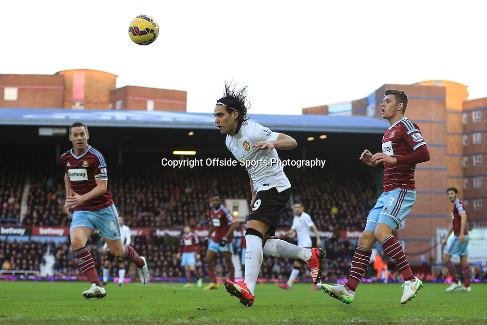 8 February 2015 - Barclays Premier League - West Ham United v Manchester United - Radamel Falcao of Manchester United in action with Kevin Nolan (L) and Aaron Cresswell of West Ham - Photo: Marc Atkins / Offside.