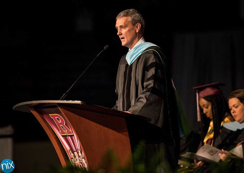 Cabarrus County Schools Superintendent Dr. Chris Lowder speaks during the Commencement ceremonies for Jay M. Robinson High School at the Cabarrus Arena & Events Center Friday afternoon.