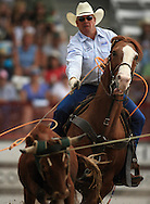 Bret Boatright and Steve Orth score a 10 sec time in team roping event, 25 Jul 2007, Cheyenne Frontier Days