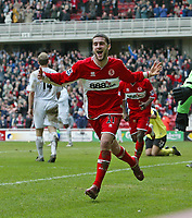 Photo: Andrew Unwin.<br /> Middlesbrough v Bolton Wanderers. The Barclays Premiership. 26/03/2006.<br /> Middlesbrough's Stuart Parnaby celebrates scoring the winning goal for his team.