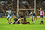 Henry Pyrgos passes from the ruck during the 1872 Challenge Cup, Guinness Pro 14 2018_19 match between Edinburgh Rugby and Glasgow Warriors at BT Murrayfield Stadium, Edinburgh, Scotland on 22 December 2018.