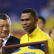 Ivan Hurtado in his final appearance with the national team at presentations before the game during the Ecuador Vs El Salvador friendly international football match.  The 40-year-old Hurtado left in the 42nd minute to a large ovation from the partisan crowd at Red Bull Arena. The defender is retiring after a team-record 168 appearances. Red Bull Arena, Harrison, New Jersey. USA. 14th October 2014. Photo Tim Clayton