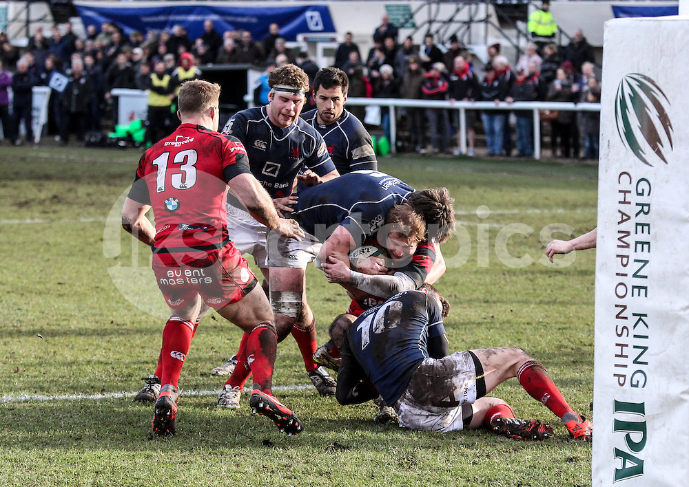 Gregor Gillanders and Peter Lydon in action during the Green King IPA Championship match between London Scottish &amp; Moseley at Richmond, Greater London on 21st February 2015<br /> <br /> Photo: Ken Sparks | UK Sports Pics Ltd<br /> London Scottish v Moseley, Green King IPA Championship, 21st February 2015<br /> <br /> &copy; UK Sports Pics Ltd. FA Accredited. Football League Licence No:  FL14/15/P5700.Football Conference Licence No: PCONF 051/14 Tel +44(0)7968 045353. email ken@uksportspics.co.uk, 7 Leslie Park Road, East Croydon, Surrey CR0 6TN. Credit UK Sports Pics Ltd