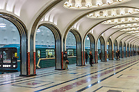 MOSCOW - CIRCA MARCH 2013: People waiting in the famous Mayakovskaya Metro Station circa march 2013. With a population of more than 11 million people is one the largest cities in the world and a popular tourist destination.