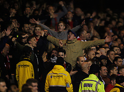 Nottingham Forest fans celebrate after Nelson Oliveira (Not Pictured) scored their first goal - Mandatory byline: Jack Phillips / JMP - 07966386802 - 6/11/2015 - FOOTBALL - The City Ground - Nottingham, Nottinghamshire - Nottingham Forest v Derby County - Sky Bet Championship
