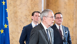 24.01.2018, Hofburg, Wien, Pyeongchang 2018, Vereidigung der Olympia-Mannschaft durch den Bundespräsidenten, im Bild Bundespräsident Alexander Van der Bellen vor Bundeskanzler Sebastian Kurz (ÖVP) und Vizekanzler Heinz-Christian Strache (FPÖ) // federal president of Austria Alexander Van der Bellen in front of Austrian Federal Chancellor Sebastian Kurz and Austrian Vice Chancellor Heinz-Christian Strache during the swearing-in of the Austrian National Olympic Committee for Pyeongchang 2018 at Hofburg in Vienna, Austria on 2018/01/24, EXPA Pictures © 2018 PhotoCredit: EXPA/ Michael Gruber