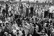 Crowd dancing on the road, Reclaim the Streets, Shepherd's Bush, London, July 1996