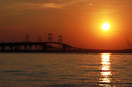View of Chesapeake Bay Bridge at Sunset..