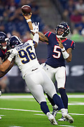 HOUSTON, TX - AUGUST 29:  Joe Webb III #5 of the Houston Texans throws a pass under pressure from Landis Durham #96 of the Los Angeles Rams during week four of the preseason at NRG Stadium on August 29, 2019 in Houston, Texas. The Rams defeated the Texans 22-10.   (Photo by Wesley Hitt/Getty Images) *** Local Caption *** Joe Webb III; Landis Durham