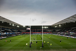 A general view of Liberty Stadium, home of Ospreys<br /> <br /> Photographer Simon King/Replay Images<br /> <br /> Guinness PRO14 Round 19 - Ospreys v Connacht - Friday 6th April 2018 - Liberty Stadium - Swansea<br /> <br /> World Copyright © Replay Images . All rights reserved. info@replayimages.co.uk - http://replayimages.co.uk