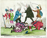 'Prerogatives defeat or liberties triumph'Charles James Fox helping John Dunning walk on the prostrate bodies of the Earl of Bute and Lord North. In the background a Scotsman attacks Dunningwhile an Irishman and America.Hand coloured etching by John Dunning 1731-1783, during the aftermath of the American Revolution