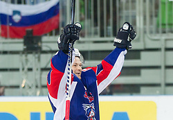 Andrej Hebar of Slovenia celebrates during ice-hockey match between Great Britain and Slovenia at IIHF World Championship DIV. I Group A Slovenia 2012, on April 15, 2012 in Arena Stozice, Ljubljana, Slovenia. Slovenia defeated Great Britain 3-2. (Photo by Vid Ponikvar / Sportida.com)