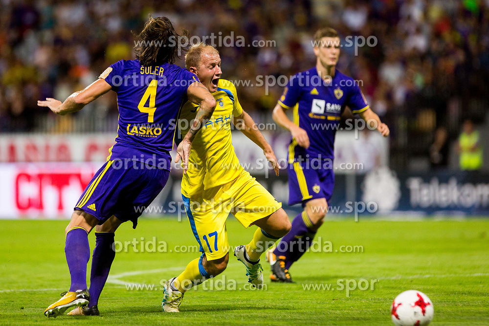 Senijad Ibricic of NK Domzale and Marko suler of NK Maribor during football match between NK Maribor and NK Domzale in 5th Round of Prva liga Telekom Slovenije 2017/18, on August 11, 2017 in Ljudski vrt, Maribor, Slovenia. Photo by Ziga Zupan / Sportida