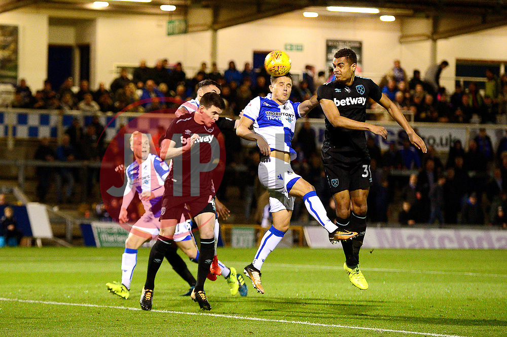 Tom Nichols of Bristol Rovers scores the opening goal of the game - Mandatory by-line: Dougie Allward/JMP - 31/10/2017 - FOOTBALL - Memorial Stadium - Bristol, England - Bristol Rovers v West Ham United U21 - Checkatrade Trophy