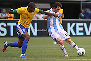 In the 84th minute, Lionel Messi scores the game winner (and personal third that afternoon) to beat Brazil 4-3 in front of a sellout crowd of 81,994 at MetLife Stadium.<br /> <br /> Brazil vs. Argentina.<br /> June 9th, 2012.<br /> MetLife Stadium, East Rutherford, New Jersey, U.S.A.<br /> <br /> Original file sizes up to 27mb 5084 x 3456