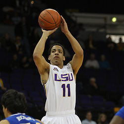 Jan 04, 2010; Baton Rouge, LA, USA;  LSU Tigers forward Bo Spencer (11) shoots during a game against the McNeese State Cowboys at the Pete Maravich Assembly Center. LSU defeated McNeese State 83-60.  Mandatory Credit: Derick E. Hingle-US PRESSWIRE