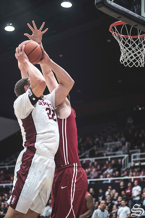Reid Travis #22 vs. Washington State on January 12, 2017 at Maples Pavilion in Stanford, CA. Photo by Ryan Jae.