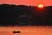 Fishing on Lac Seul at sunset<br /> Ear Falls<br /> Ontario<br /> Canada