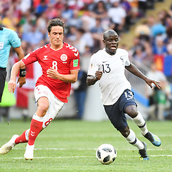 Thomas Delaney of Denmark and Ngolo Kante of France during the FIFA World Cup Group C match between Denmark and France at Luzhniki Stadium on June 26, 2018 in Moscow, Russia. (Photo by Anthony Dibon/Icon Sport)
