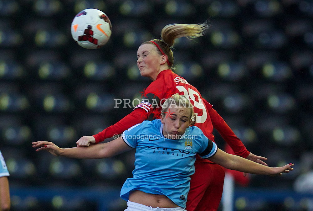 WIDNES, ENGLAND - Thursday, April 17, 2014: Liverpool Ladies' Corina Schroder in action against Manchester City Ladies during the FA Women's Super League match at the Halton Stadium. (Pic by David Rawcliffe/Propaganda)