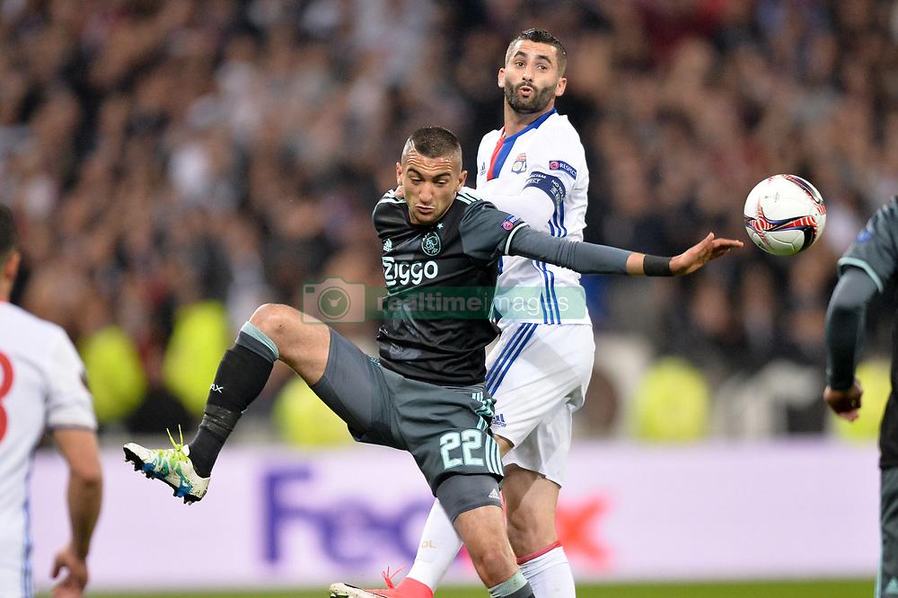 May 11, 2017 - Lyon, France - 21 MAXIME GONALONS (ol) - 22 Hakim Ziyech  (Credit Image: © Panoramic via ZUMA Press)