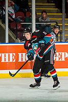 KELOWNA, CANADA - OCTOBER 13:Lassi Thomson #2 of the Kelowna Rockets passes the puck against the Tri-City Americans on October 13, 2018 at Prospera Place in Kelowna, British Columbia, Canada.  (Photo by Marissa Baecker/Shoot the Breeze)  *** Local Caption ***