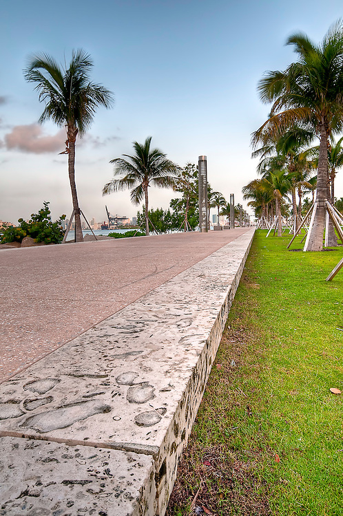 Walkway in a the beautiful park South Pointe in Miami Beach, Florida.