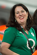 London, Great Britain,  Ireland supporter enjoying the pre game atmosphere, before kick off at the South Africa vs Argentina. 2015 Rugby World Cup, Bronze Medal Match.Queen Elizabeth Olympic Park. Stadium, Stratford. East London. England,, Friday  30/10/2015. <br /> [Mandatory Credit; Peter Spurrier/Intersport-images]