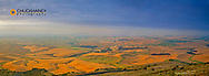 View of agriculture fields and rolling hills of the Palouse from the summit of Steptoe Butte near Colfax Washington