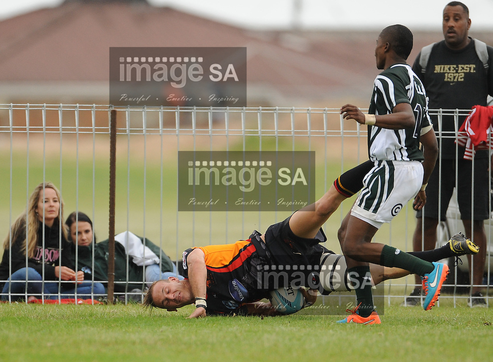 GEORGE, SOUTH AFRICA - Saturday 7 March 2015, Wesley Flanagan of Vaseline Wanderers scores a try in the corner during the third round match of the Cell C Community Cup between Pacaltsdorp Evergreens and Vaseline Wanderers at Pacaltsdorp Sports Grounds, George<br /> Photo by Roger Sedres/ImageSA/ SARU
